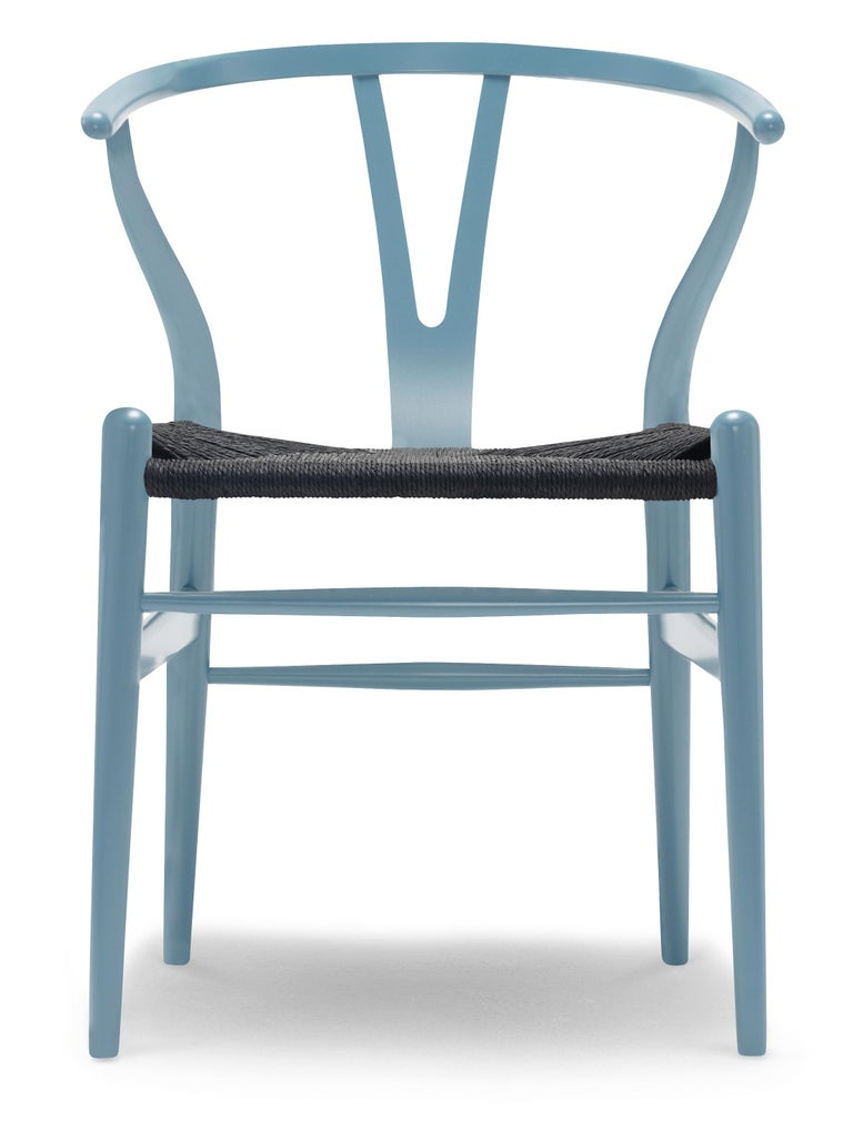 For Sale: Blue (NCS S3030-B) CH24 Wishbone Chair in Color Finishes with Black Papercord Seat by Hans Wegner
