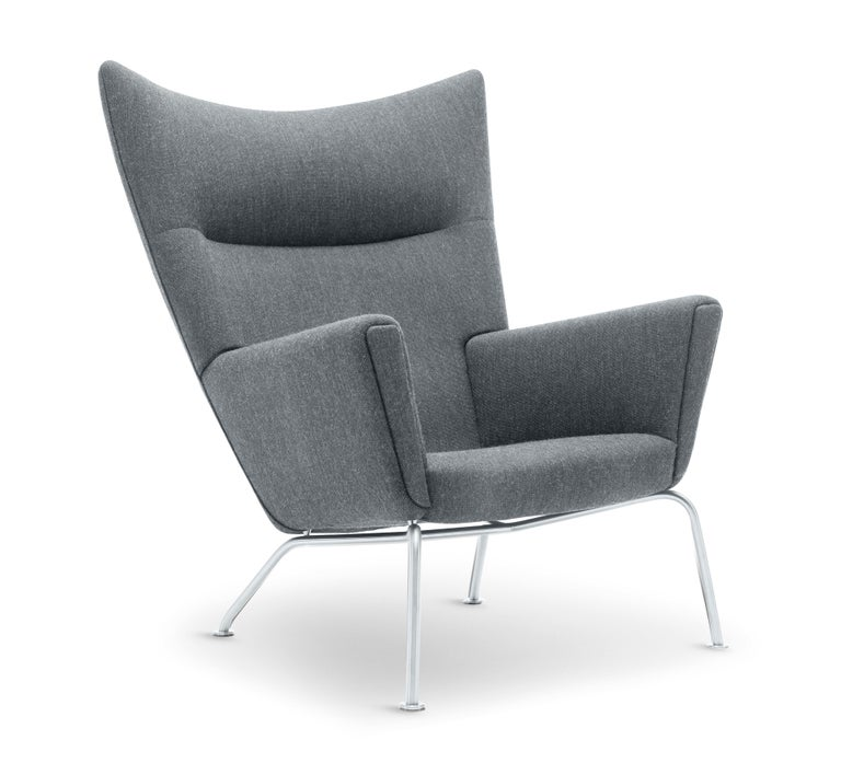 For Sale: Gray (Kvadrat Fiord 151) CH445 Wing Chair in Fabric with Stainless Steel Base by Hans J. Wegner 2