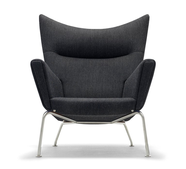 For Sale: Black (Kvadrat Fiord 191) CH445 Wing Chair in Fabric with Stainless Steel Base by Hans J. Wegner