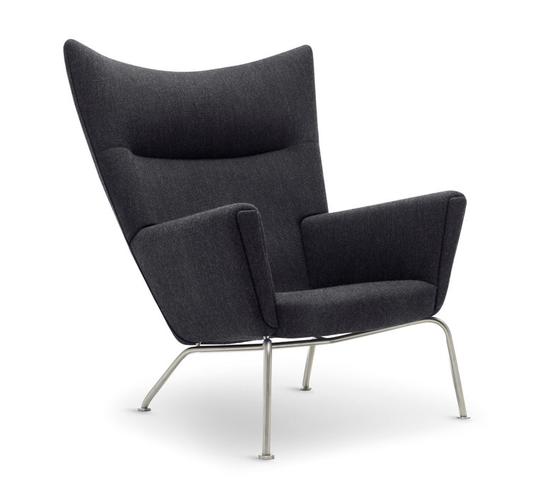 For Sale: Black (Kvadrat Fiord 191) CH445 Wing Chair in Fabric with Stainless Steel Base by Hans J. Wegner 2