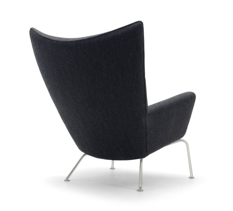 For Sale: Black (Kvadrat Fiord 191) CH445 Wing Chair in Fabric with Stainless Steel Base by Hans J. Wegner 3