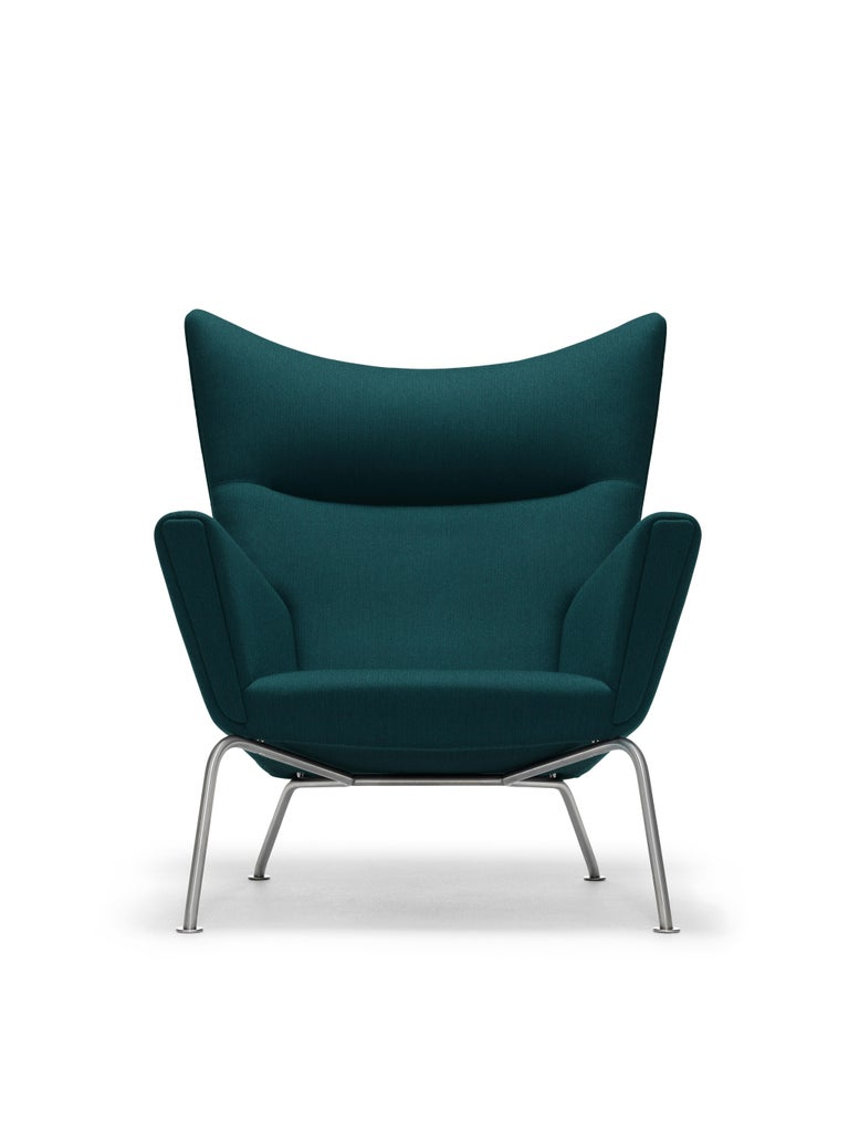 For Sale: Green (Kvadrat ForestNap 992) CH445 Wing Chair in Fabric with Stainless Steel Base by Hans J. Wegner