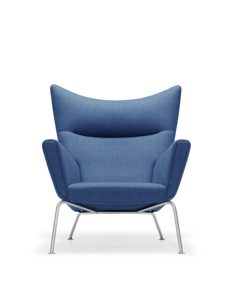 For Sale: Blue (Kvadrat Canvas 746) CH445 Wing Chair in Fabric with Stainless Steel Base by Hans J. Wegner