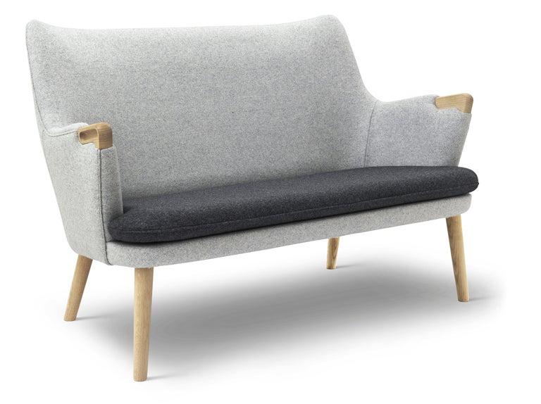 For Sale: Black (Kvadrat DivinaMelange 180) CH72 Sofa in Oak Soap with Upholstered Frame by Hans J. Wegner 2
