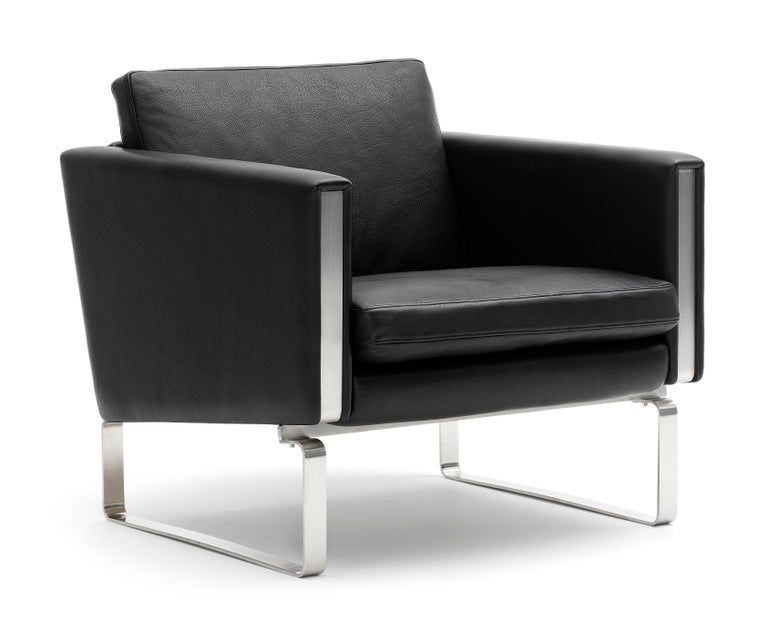 For Sale: Black (Thor 301) CH101 Chair in Stainless Steel Frame with Leather Seat by Hans J. Wegner 2