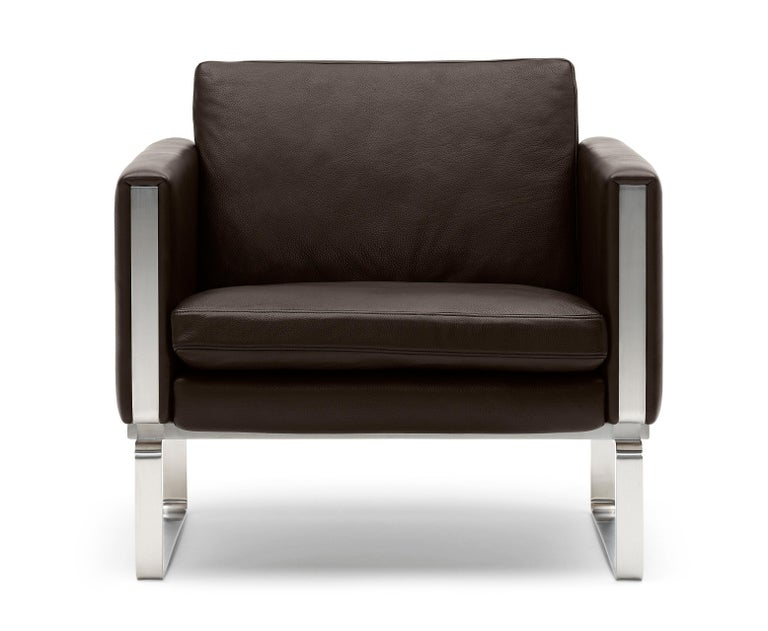 For Sale: Brown (Thor 306) CH101 Chair in Stainless Steel Frame with Leather Seat by Hans J. Wegner