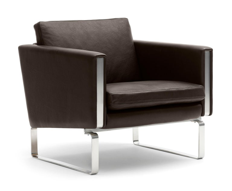 For Sale: Brown (Thor 306) CH101 Chair in Stainless Steel Frame with Leather Seat by Hans J. Wegner 2