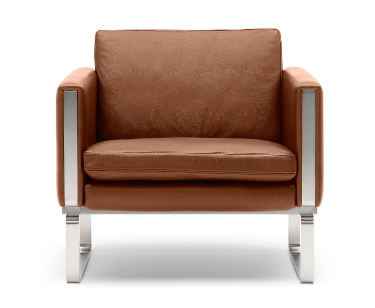 For Sale: Brown (Thor 307) CH101 Chair in Stainless Steel Frame with Leather Seat by Hans J. Wegner