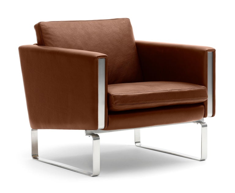 For Sale: Brown (Thor 307) CH101 Chair in Stainless Steel Frame with Leather Seat by Hans J. Wegner 2