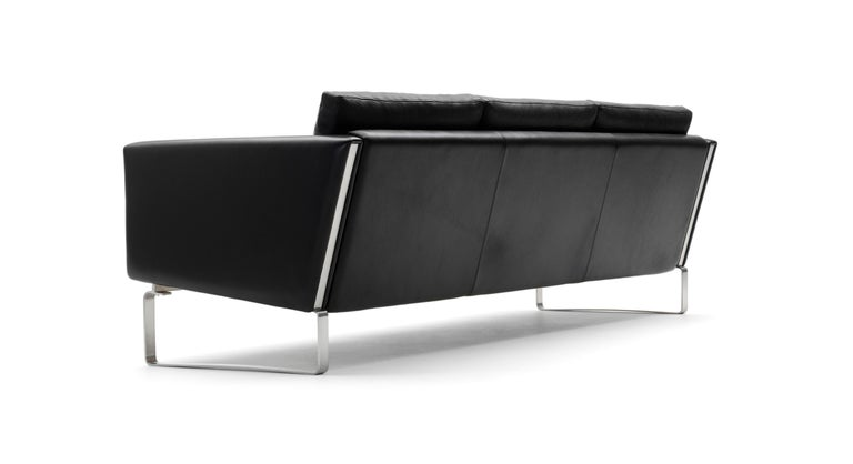 For Sale: Black (Thor 301) CH103 3-Seat Sofa in Stainless Steel Frame with Leather Seat by Hans J. Wegner 3