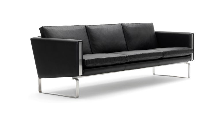 For Sale: Black (Thor 301) CH103 3-Seat Sofa in Stainless Steel Frame with Leather Seat by Hans J. Wegner 2
