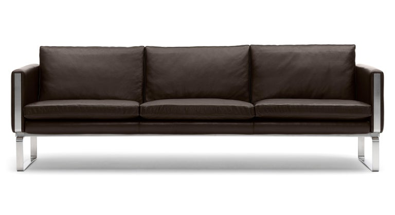 For Sale: Brown (Thor 306) CH103 3-Seat Sofa in Stainless Steel Frame with Leather Seat by Hans J. Wegner