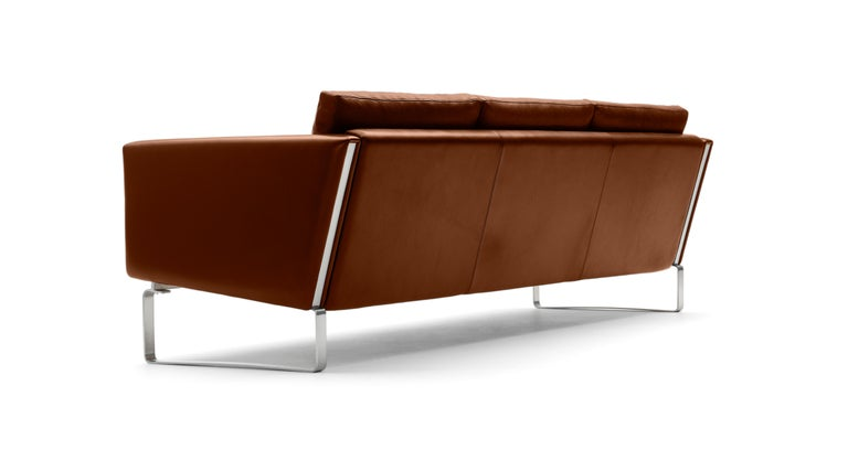 For Sale: Brown (Thor 307) CH103 3-Seat Sofa in Stainless Steel Frame with Leather Seat by Hans J. Wegner 3