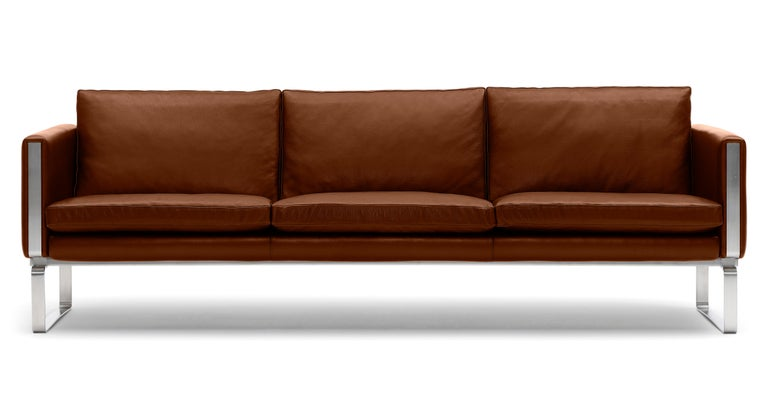For Sale: Brown (Thor 307) CH103 3-Seat Sofa in Stainless Steel Frame with Leather Seat by Hans J. Wegner