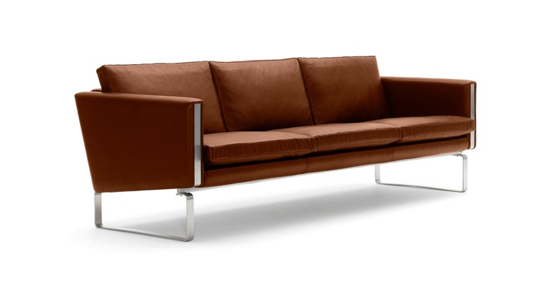 For Sale: Brown (Thor 307) CH103 3-Seat Sofa in Stainless Steel Frame with Leather Seat by Hans J. Wegner 2