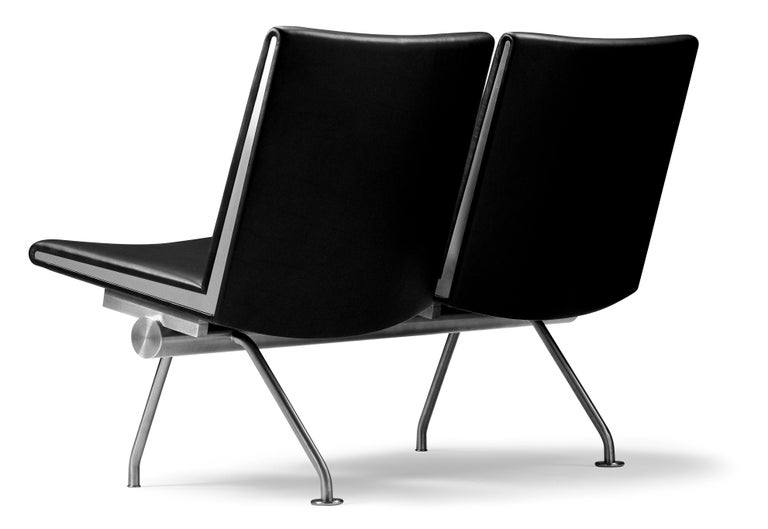 For Sale: Black (Thor 301) CH402 Kastrup Sofa in Stainless Steel with Leather Seat by Hans J. Wegner 2