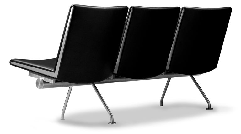 For Sale: Black (Thor 301) CH403 3-Seat Kastrup Sofa in Stainless Steel with Leather Seat by Hans J. Wegner 2