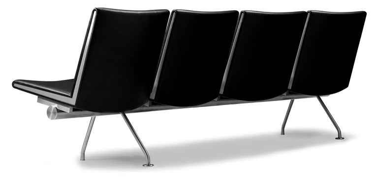 For Sale: Black (Thor 301) CH404 4-Seat Kastrup Sofa in Stainless Steel with Leather Seat by Hans J. Wegner 2