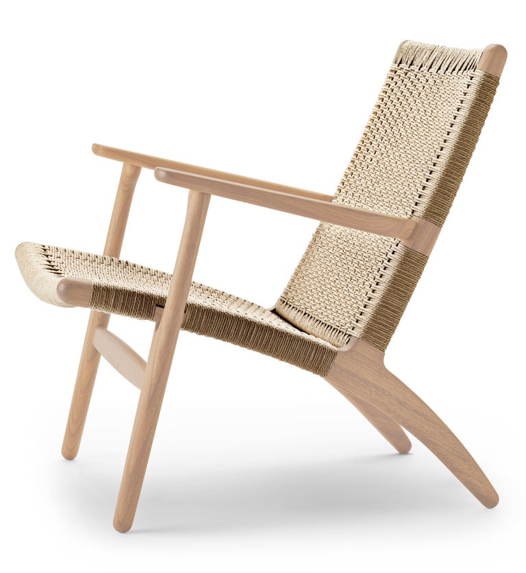 For Sale: Beige (Oak White Oil) CH25 Easy Lounge Chair with Natural Papercord Seat by Hans J. Wegner 2
