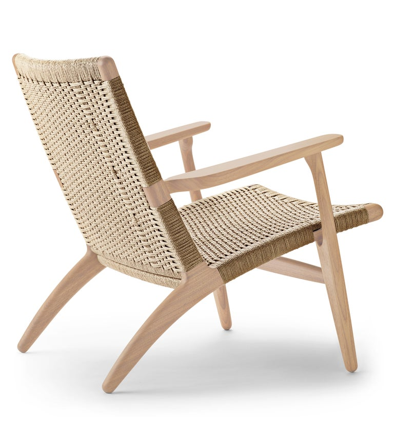 For Sale: Beige (Oak White Oil) CH25 Easy Lounge Chair with Natural Papercord Seat by Hans J. Wegner 3