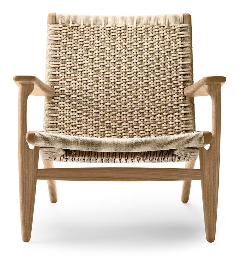 For Sale: Brown (Oak Oil) CH25 Easy Lounge Chair with Natural Papercord Seat by Hans J. Wegner