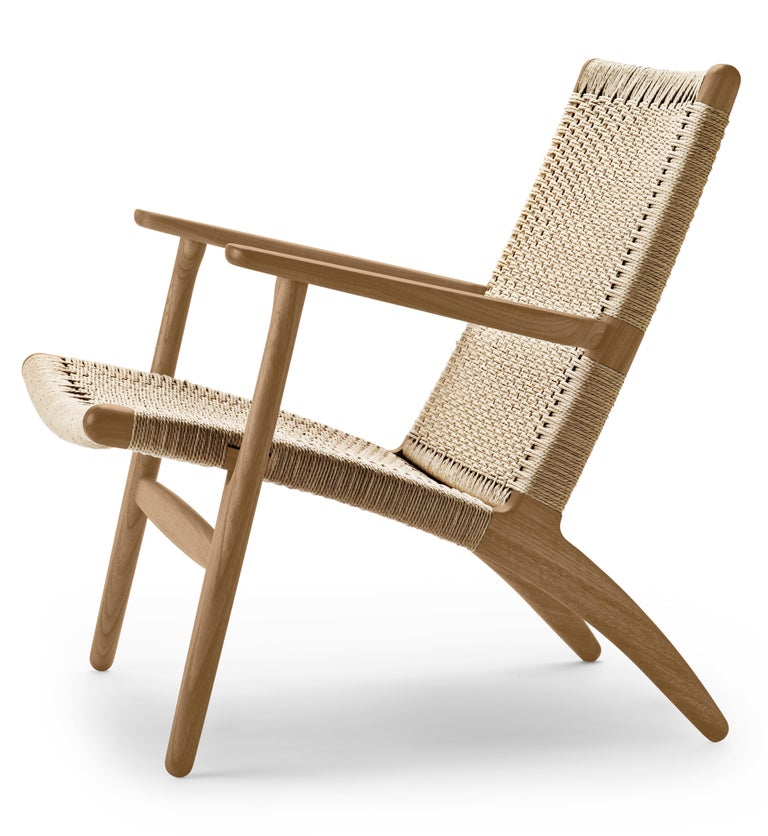For Sale: Brown (Oak Oil) CH25 Easy Lounge Chair with Natural Papercord Seat by Hans J. Wegner 2
