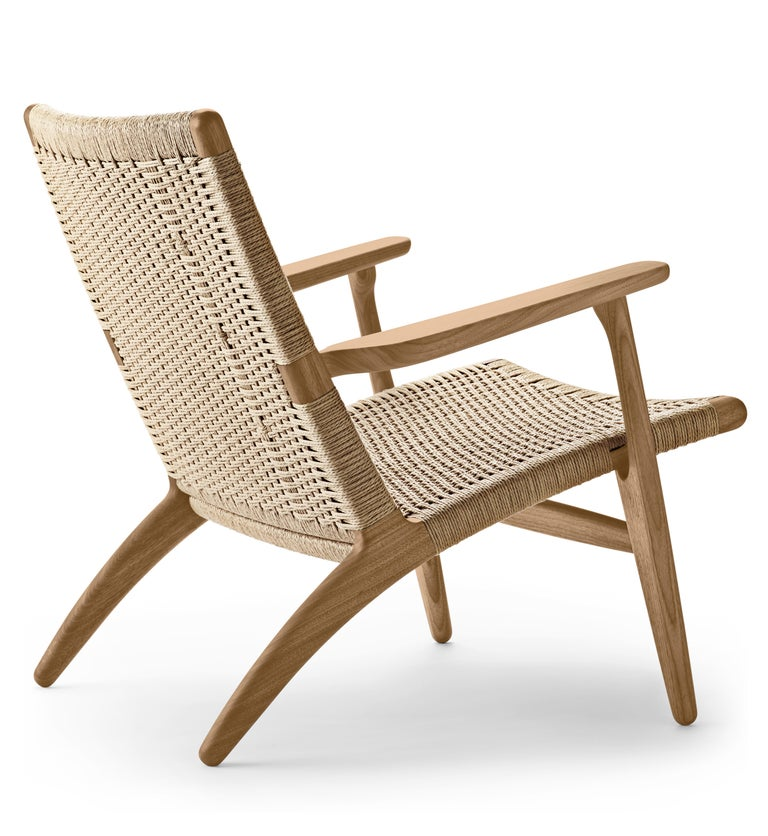 For Sale: Brown (Oak Oil) CH25 Easy Lounge Chair with Natural Papercord Seat by Hans J. Wegner 3