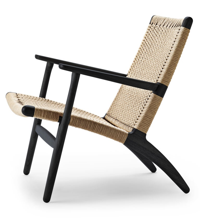 For Sale: Black (Oak Painted blacks9000-N) CH25 Easy Lounge Chair with Natural Papercord Seat by Hans J. Wegner 2