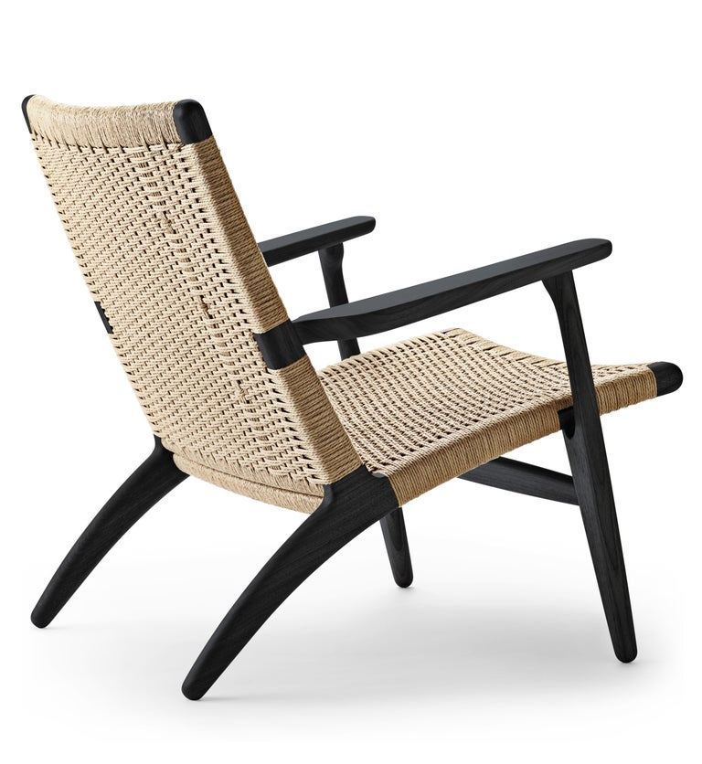 For Sale: Black (Oak Painted blacks9000-N) CH25 Easy Lounge Chair with Natural Papercord Seat by Hans J. Wegner 3