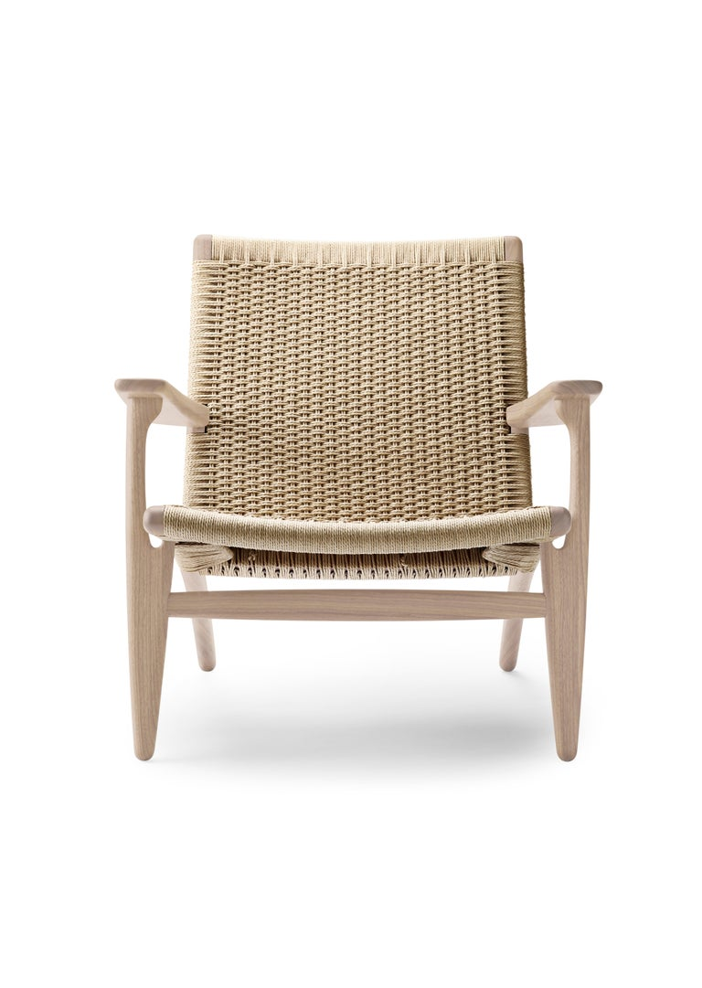 For Sale: Brown (Oak Soap) CH25 Easy Lounge Chair with Natural Papercord Seat by Hans J. Wegner