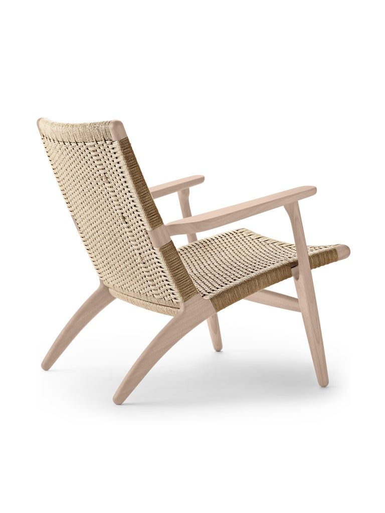 For Sale: Brown (Oak Soap) CH25 Easy Lounge Chair with Natural Papercord Seat by Hans J. Wegner 2