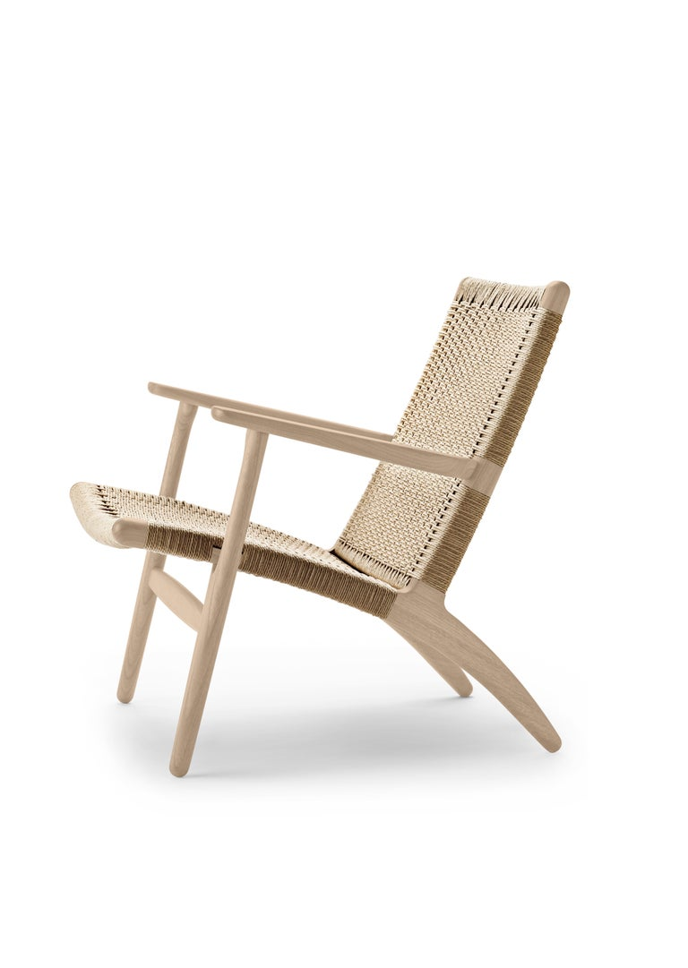 For Sale: Brown (Oak Soap) CH25 Easy Lounge Chair with Natural Papercord Seat by Hans J. Wegner 3