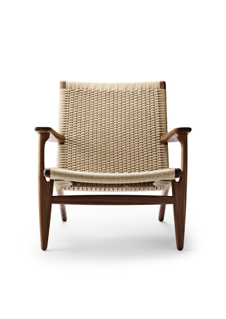 For Sale: Brown (Walnut Oil) CH25 Easy Lounge Chair with Natural Papercord Seat by Hans J. Wegner
