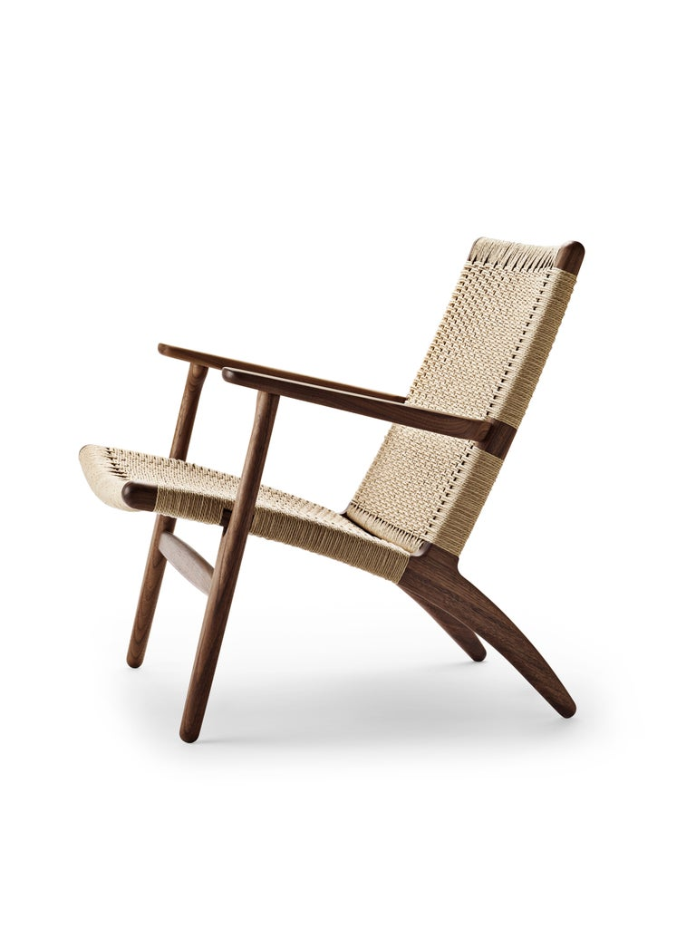 For Sale: Brown (Walnut Oil) CH25 Easy Lounge Chair with Natural Papercord Seat by Hans J. Wegner 2