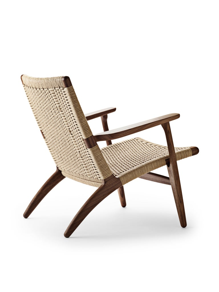 For Sale: Brown (Walnut Oil) CH25 Easy Lounge Chair with Natural Papercord Seat by Hans J. Wegner 3