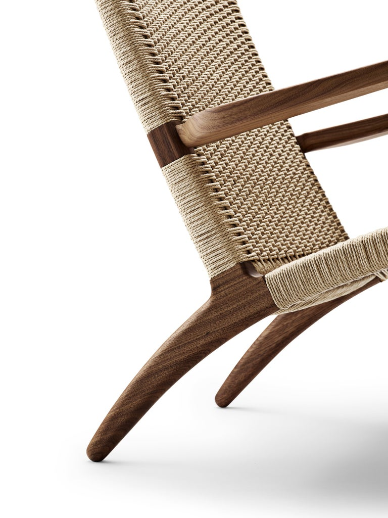 For Sale: Brown (Walnut Oil) CH25 Easy Lounge Chair with Natural Papercord Seat by Hans J. Wegner 4