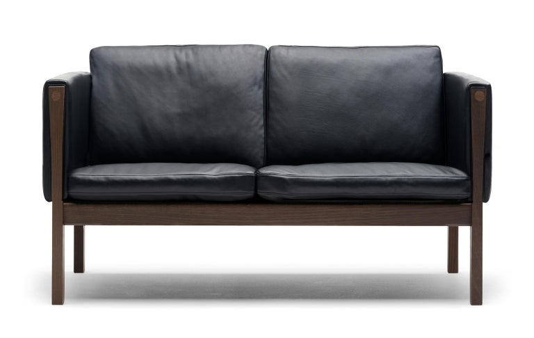 For Sale: Black (Sif 98) CH162 Sofa in Walnut Oil Frame with Leather Upholstery by Hans J. Wegner
