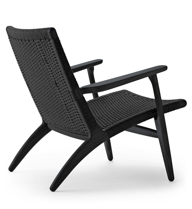 For Sale: Black (Oak Painted blacks9000-N) CH25 Easy Lounge Chair with Black Papercord Seat by Hans J. Wegner 3