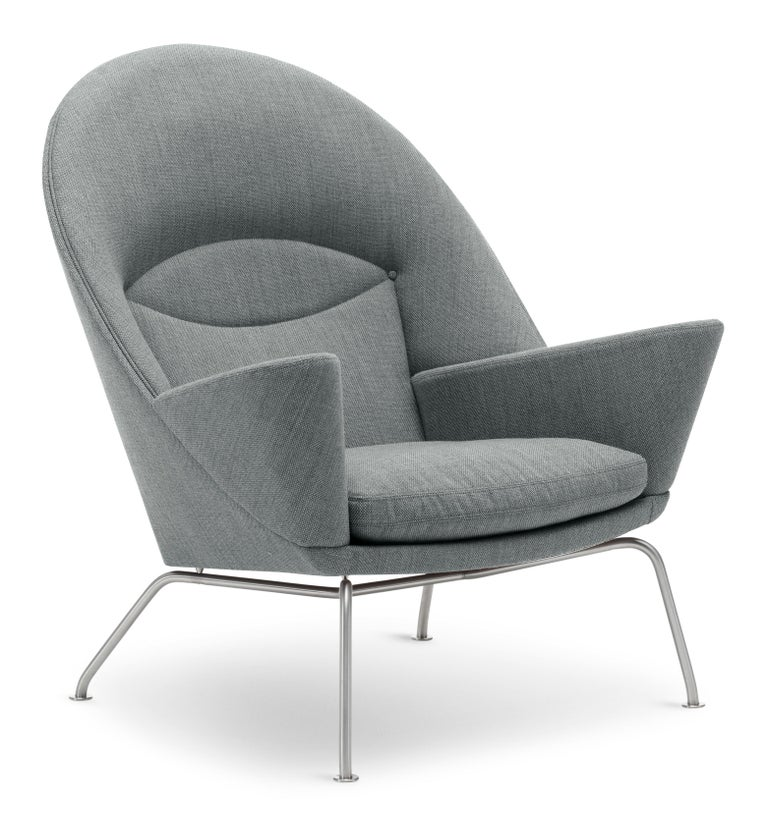 For Sale: Gray (Kvadrat Fiord 151) CH468 Oculus Chair in Stainless Steel with Foam Seat by Hans J. Wegner 2
