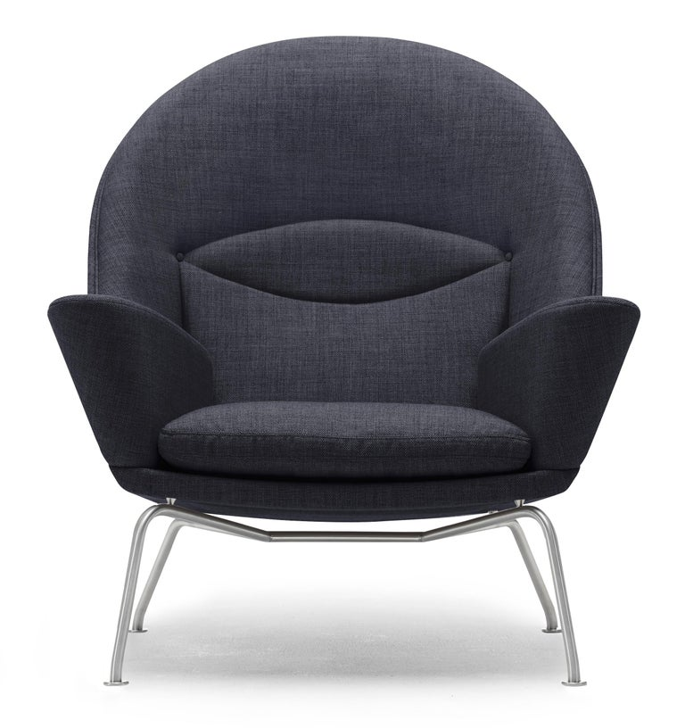 For Sale: Black (Kvadrat Fiord 191) CH468 Oculus Chair in Stainless Steel with Foam Seat by Hans J. Wegner