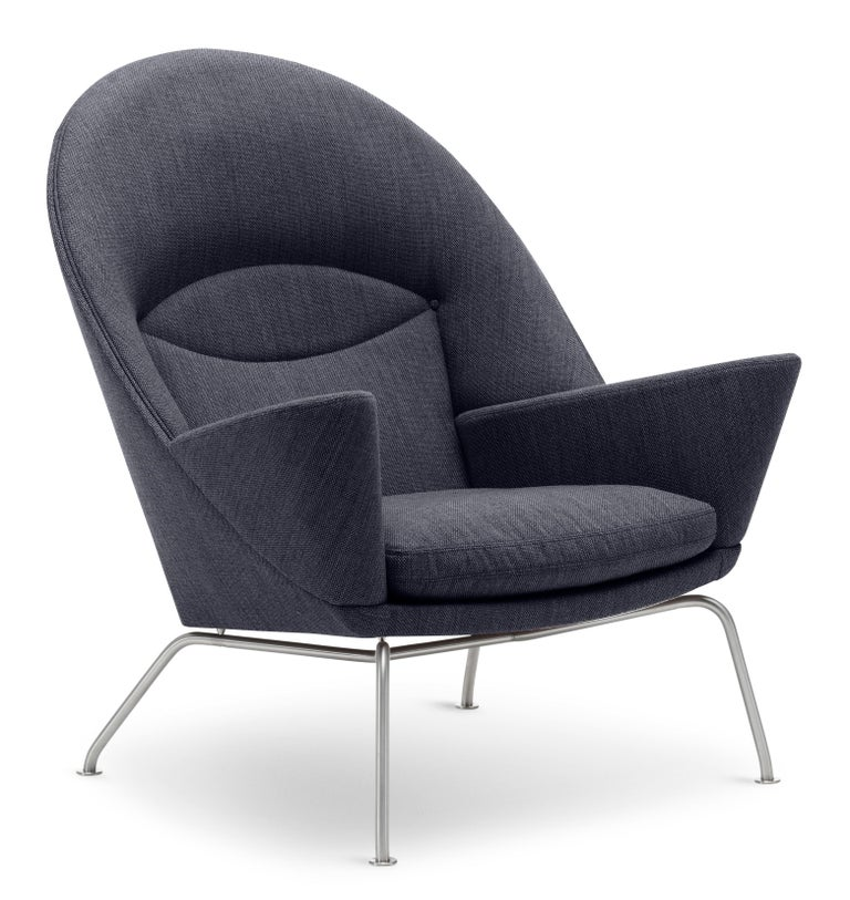 For Sale: Black (Kvadrat Fiord 191) CH468 Oculus Chair in Stainless Steel with Foam Seat by Hans J. Wegner 2