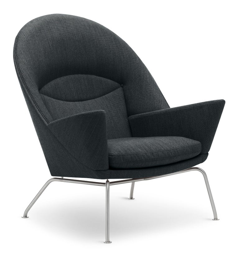 For Sale: Gray (Gabriel Mood 2101) CH468 Oculus Chair in Stainless Steel with Foam Seat by Hans J. Wegner 2