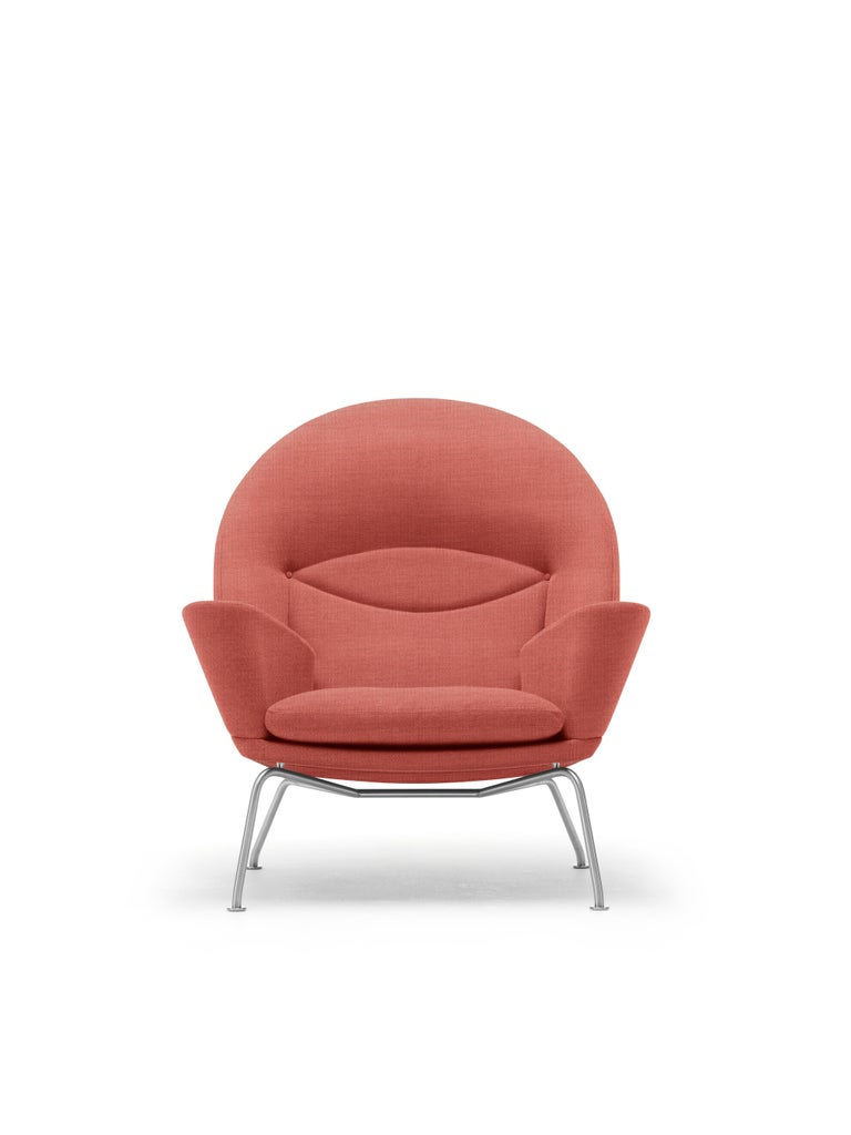 For Sale: Pink (Kvadrat Canvas 566) CH468 Oculus Chair in Stainless Steel with Foam Seat by Hans J. Wegner