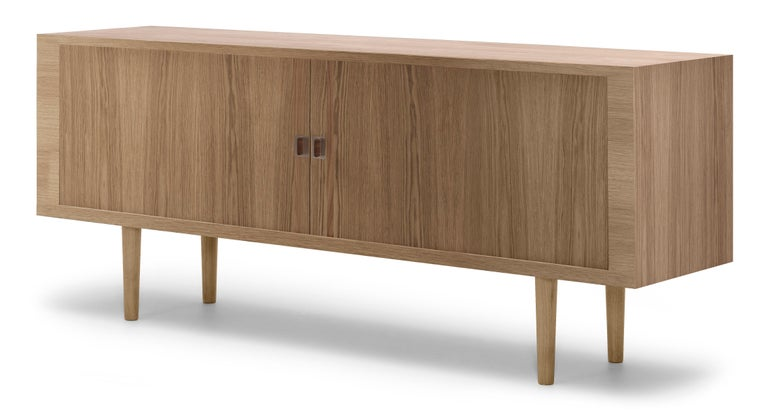 For Sale: Brown (Oak Oil) CH825 Credenza with Wood Base by Hans J. Wegner 2