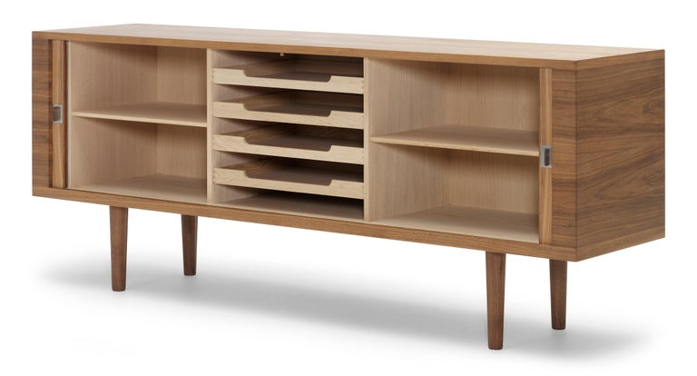 For Sale: Brown (Walnut Oil) CH825 Credenza with Wood Base by Hans J. Wegner 3