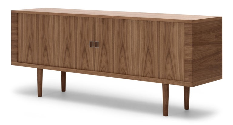 For Sale: Brown (Walnut Oil) CH825 Credenza with Wood Base by Hans J. Wegner 2