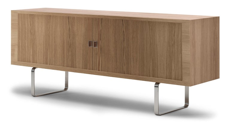 For Sale: Brown (Oak Oil) CH825 Credenza with Stainless Steel Base by Hans J. Wegner 2