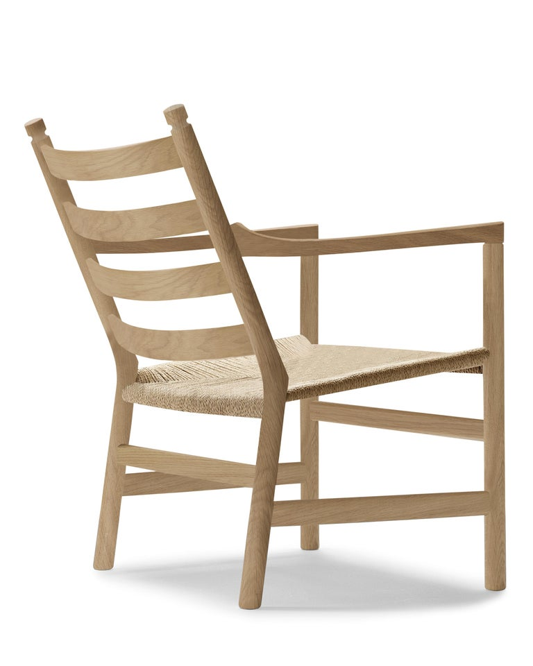 For Sale: Brown (Oak Soap) CH44 Lounge Chair in Wood with Natural Papercord Seat by Hans J. Wegner 3