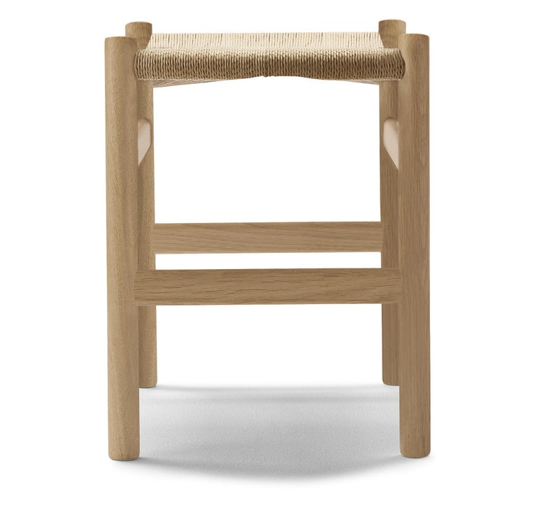 For Sale: Brown (Oak Soap) CH53 Foot Stool in Wood with Natural Papercord Seat by Hans J. Wegner 2