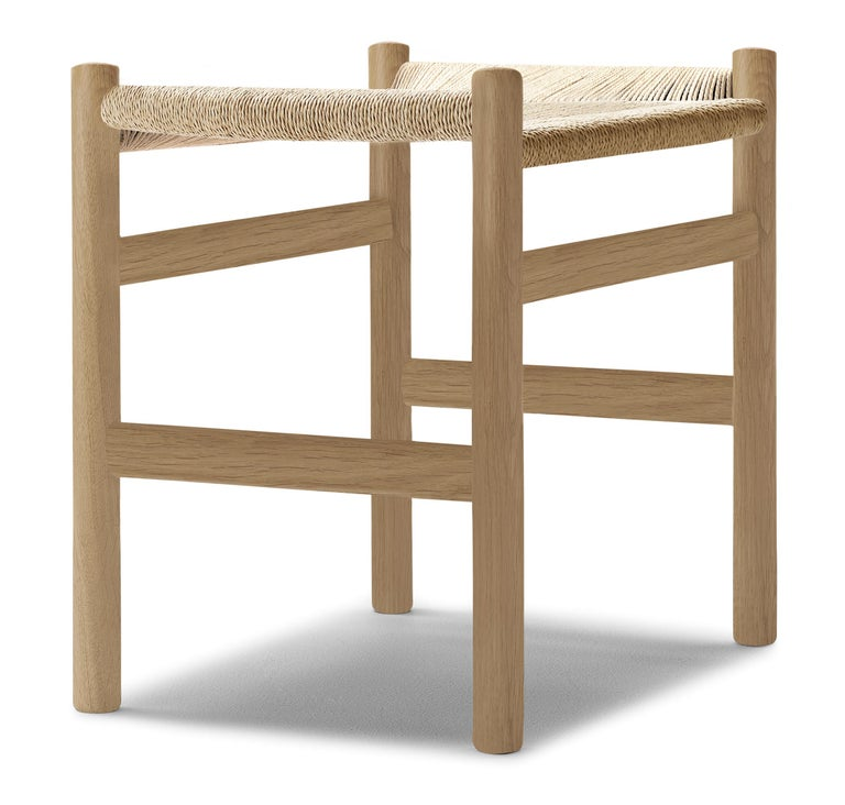 For Sale: Brown (Oak Soap) CH53 Foot Stool in Wood with Natural Papercord Seat by Hans J. Wegner 3